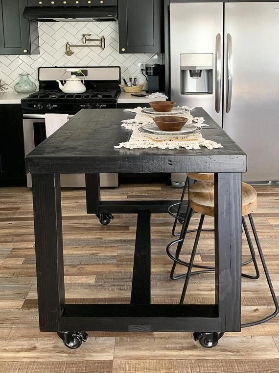Black Onyx Reclaimed Wood Bar Table Kitchen Island Counter Etsy Wood Bar Table Kitchen Counter Island High Top Table Kitchen