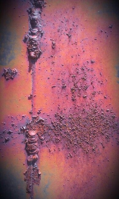 Rust and paint on an old dump truck