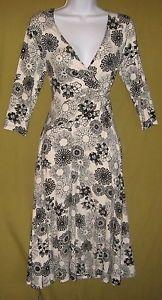 Size S 8 Jacqui E 3 4 Sleeve Twist Front Dress White Black Lane Ends | eBay