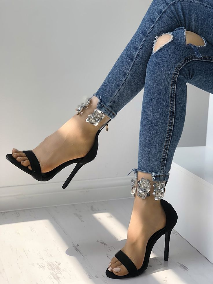 Rhinestone Ankle Strap Thin High-heeled Sandals | Shoes in ...