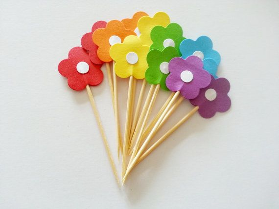 12 Rainbow Summer Fun RETRO FLOWER POWER Party Picks by naissance, $1.85
