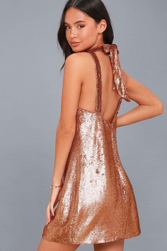 Illuminated Copper Sequin Halter Dress