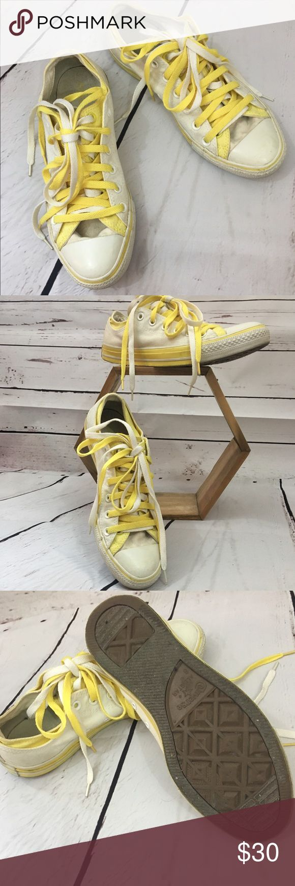 Converse Double Tongue All Stars Double tongue Converse All Stars in sunshine yellow and white. Minor signs of wear. No cracks in leather. Super fun shoes! Converse Shoes Sneakers