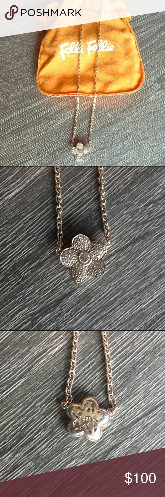 "Folli Follie Follie di Fiori Necklace Authentic Folli Follie 925 silver (sterling silver) necklace with fixed follie. 16"" adjustable necklace. Comes with dust bag. No trades. Folli Follie Jewelry Necklaces"
