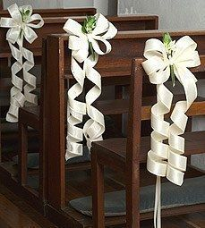 kerkbank decoratie; met lint en eventueel een bloem