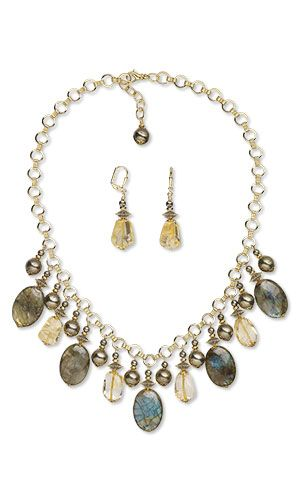 Single-Strand Necklace and Earring Set with Labradorite, Pyrite and Citrine Gemstone Beads - Fire Mountain Gems and Beads