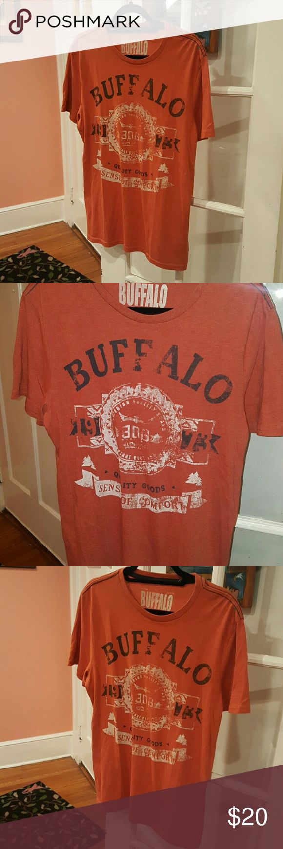 BUFFALO DAVID BITTON ORANGE T EE SHIRT M print Medium  David bitton shirt Orange  Great condition Buffalo David Bitton Shirts Tees - Short Sleeve
