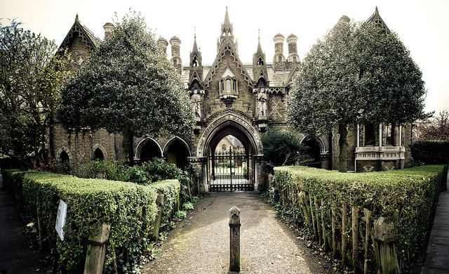 Gothic House, London. For Sale. Buyers must not be afraid of ghosts plus highgate cemetery as the neighbour.