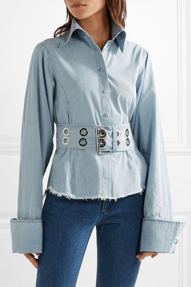 Marques' Almeida - Oversized Frayed Cotton-chambray Shirt - Light denim -