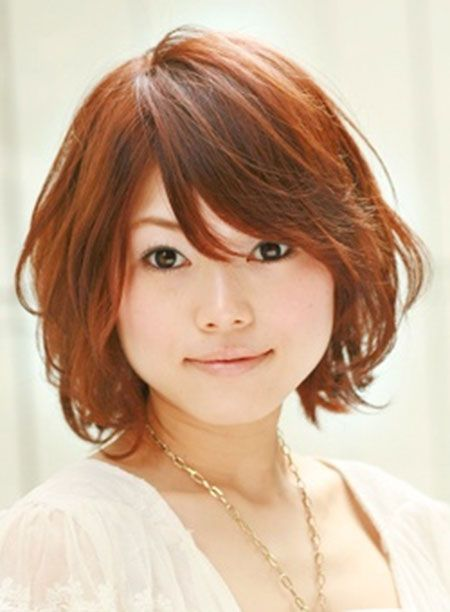 short hair for rounder faces, very cute, like the slight curl