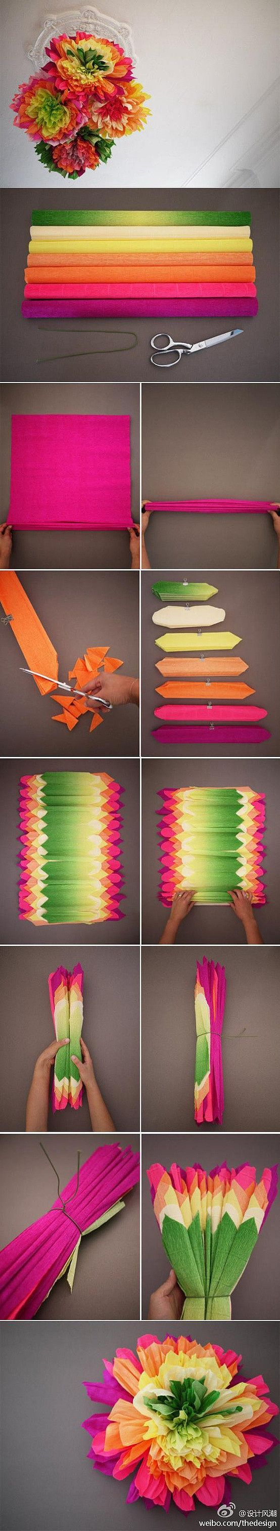 Origami Flowers using crepe paper.  Love the way they incorporated the different colors.