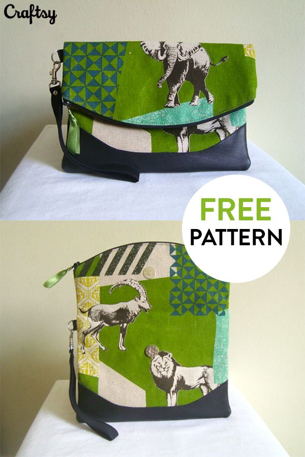 Free bag pattern download from Craftsy! A versatile, foldover clutch that is ideal for both casual and formal events. A magnetic snap holds the shape of the bag, folded perfectly in place, and a concealed back zippered pocket keeps your small items secure. Get the free pattern at Craftsy!