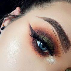 Hot green brown makeup  | ko-te.com by @evatornado