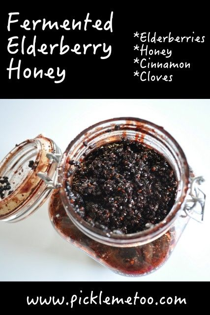 Fermented Elderberry Honey. Great for adding to yogurt, water kefir, or kombucha.