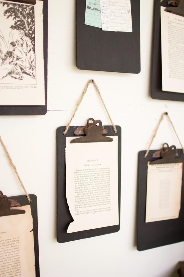 """Display photos, old letters and art in a unique and creative way with our Clipboard Set. These clipboards are black and come as a set of 6. They feature a jute hanger and a rustic clip. Measure: 6"""" x"""