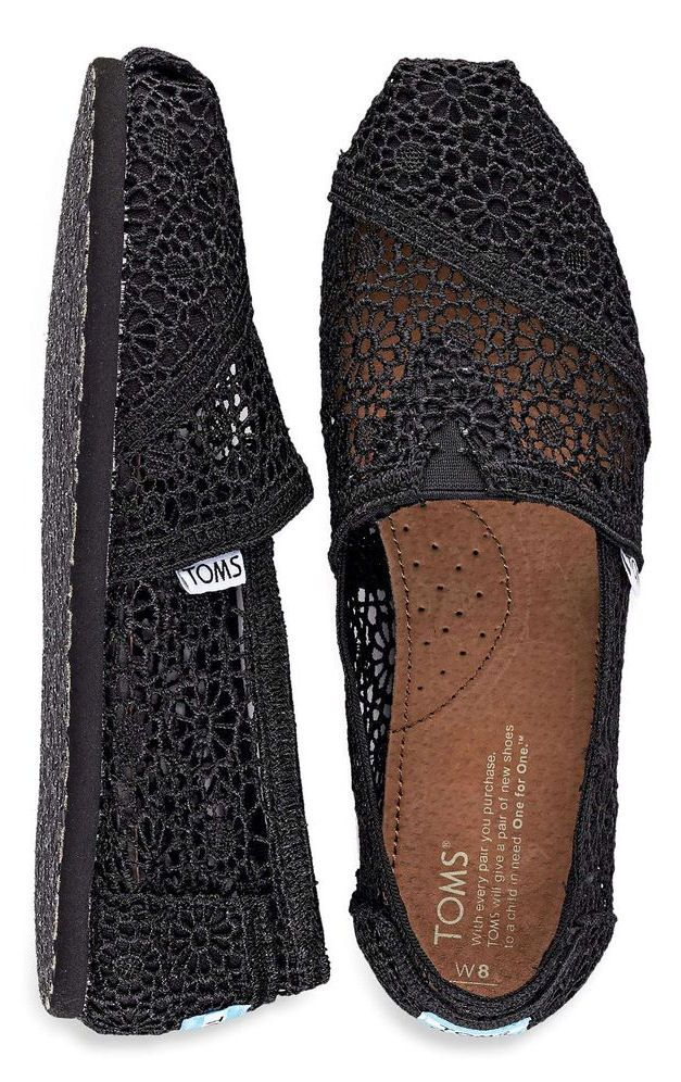 Black Lace TOMS Flats....have them in white.and blue...love them!!!
