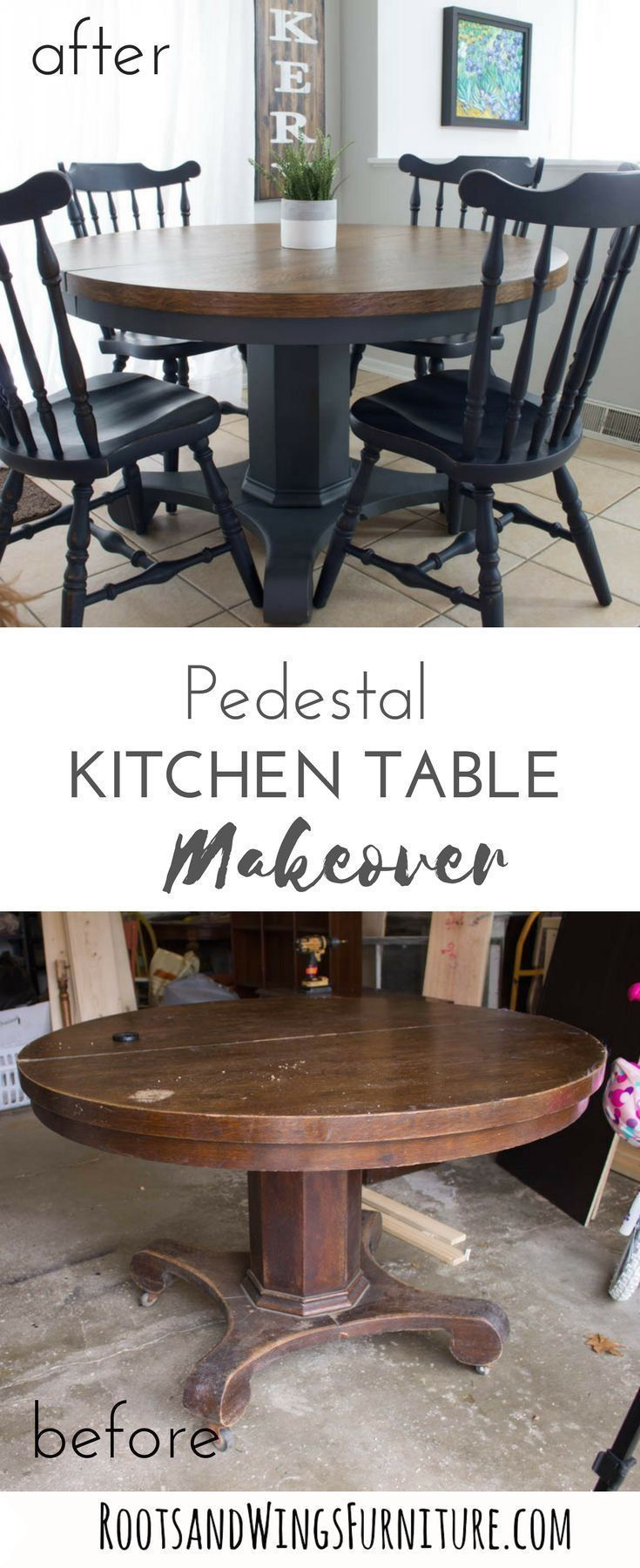 Pedestal Kitchen Table Makeover Roots Wings Furniture Llc 1000 In 2020 Refinishing Kitchen Tables Pedestal Kitchen Table Refurbished Kitchen Tables