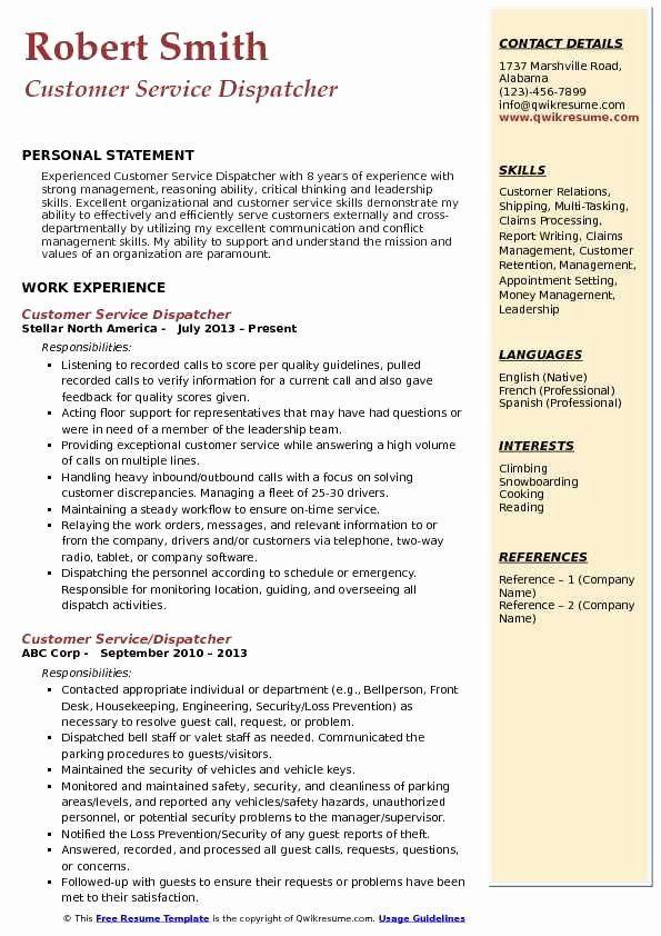 Dispatcher Job Description Resume Fresh Customer Service Dispatcher Resume Samples In 2020 Sales Resume Examples Job Resume Examples Job Resume Samples