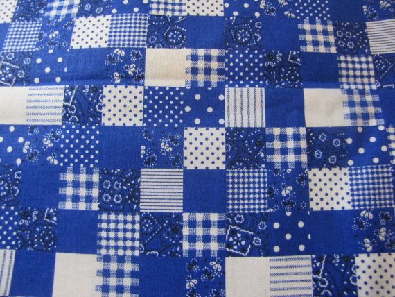 Vintage Blue Calico Patchwork Fabric, 60s, 70s  Fabric, Patchwork Fabric, Big Piece of Fabric