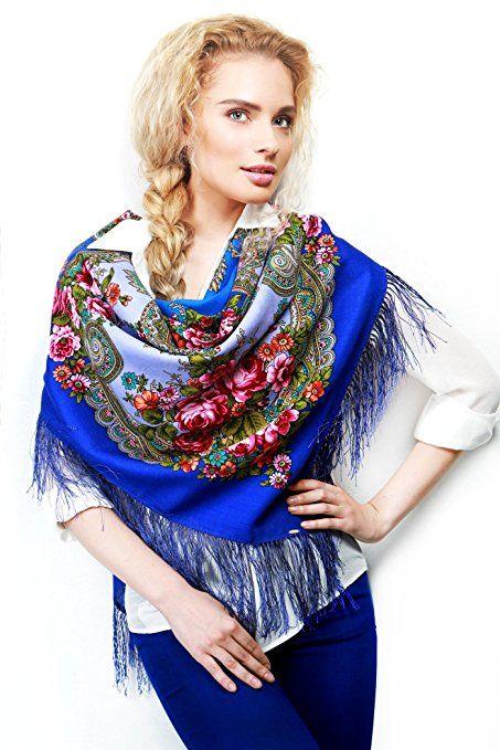 Russischer Schal Tuch VALENTINA in blau, 100% Wolle, mit Paisley und Blumen, mit Fransen, hochwertige Stola - 100% Original, sehr hohe Qualität
