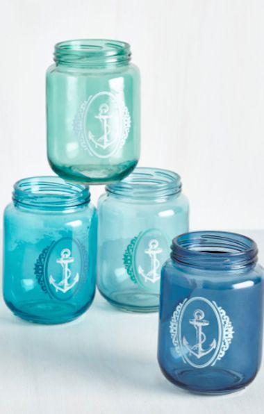pretty blue nautical mason jars