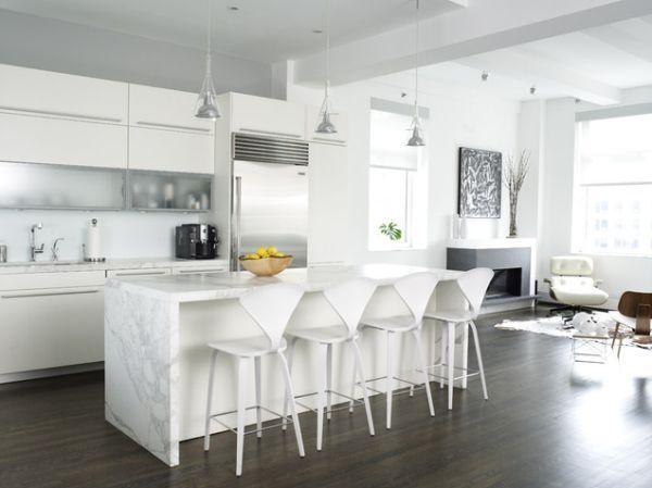White kitchen dark timber floors