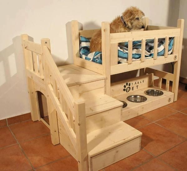 Needs a 2nd bed on the bottom, instead of food dishes. Steps good for the seniors (but not super necessary?}, and a 3rd hiding place underneath the steps