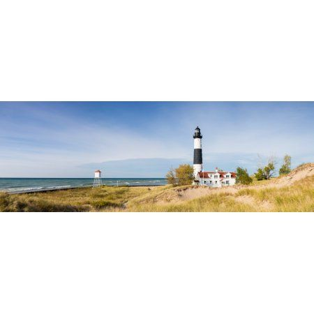 Lighthouse on the coast Big Sable Point Lighthouse Lake Michigan Ludington Mason County Michigan USA Canvas Art - Panoramic Images (7 x 18)