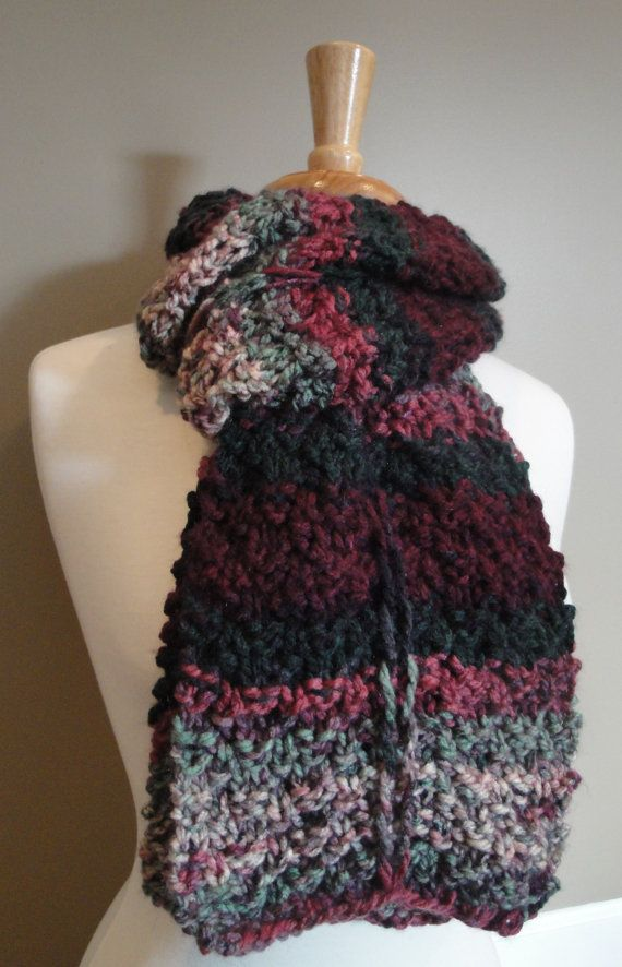 Wide Textured Knit Scarf / Cowl Roses in Bloom by KnotYourAvgKnits, $24.00