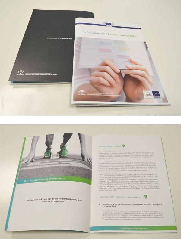 GUÍA PARA LA PROPIEDAD INDUSTRIAL HORIZONTE 2020- Agencia IDEA. #Diseño y maquetación de la publicación. Adaptación de contenido de la Comisión Europea. #diseñoeditorial