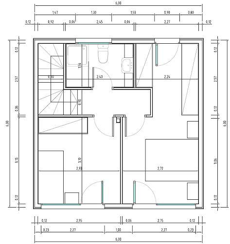 Plano casa de 36 metros cuadrados 2 nivel