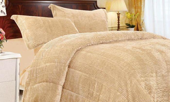 3 Piece Tiger Fur Comforter Set Queen Sand/Beige #alcove