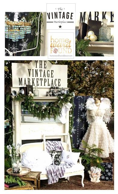 vintage props and a winter theme create inspiring style in this photo op vignette at The Vintage Marketplace Show in California Dec 2016. Design by Debi Ward Kennedy of homewardFOUNDdecor and Rita Reade of The Vintage Marketplace.