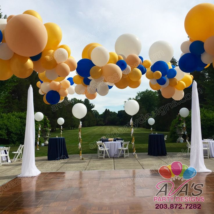 Organic Balloon Clouds Canopy with fabric columns for outdoor dance floor area. #PartyWithBalloons