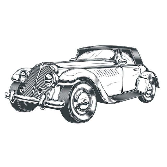 Stの彫刻でレトロな車の黒と白のベクトルイラスト 車のクリップアート 車 レトロ画像素材の無料ダウンロードのためのpngとベクトル Black And White Illustration Retro Cars Car