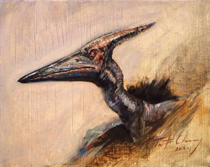 Study of Jurassic Park III Pteranodon Head Oil on ...