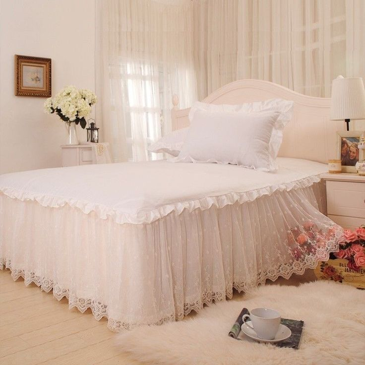 2014 Romantic Girls Princess White Lace Ruffled Bed Skirt Queen Size Bed Skirts #FADFAY #Modern