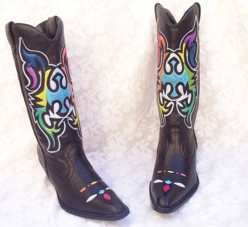 Popular Hand Painted Vintage Nocona Cowboy Boots Sz 65 Turquoise White Amp Tan
