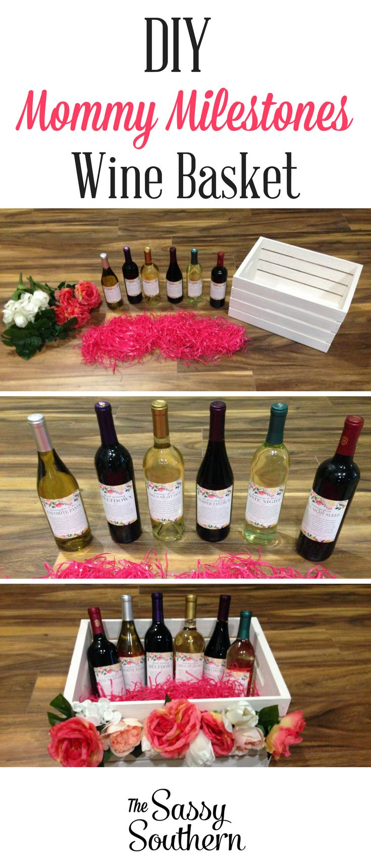 Wow the mommy-to-be at her baby shower with this adorable and easy DIY Mommy Milestones Wine Basket! Each wine bottle represents a new milestone to celebrate after the baby is born! Learn how to make this adorable gift over at The Sassy Southern! #BabyShower #DIY #WineBasket