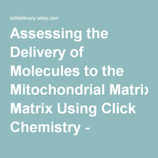 Assessing the Delivery of Molecules to the Mitochondrial Matrix Using Click Chemistry - Hoogeweijs - ChemBioChem - Wiley Online Library
