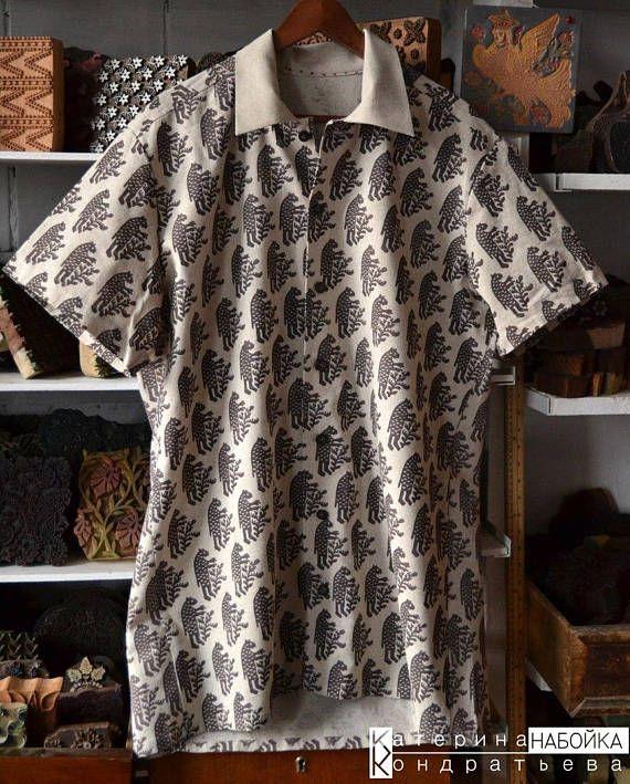Men's Shirt Designer Bear Folk Pattern Fabric Handmade