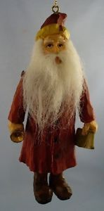 Primitive Antique Vintage Style Carved Jointed Old World Santa w Beard Ornament
