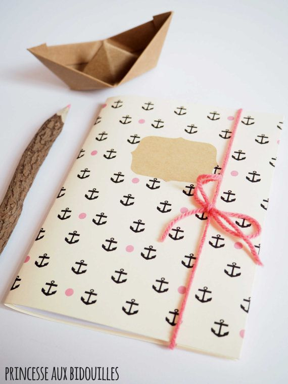 Handmade notebook : Anchor por Princesseobidouilles en Etsy