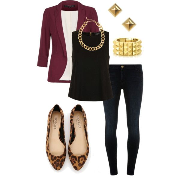 "Like the color combo...plum/burgundy (cardigan instead of blazer), black, leopard, gold- ""Working for the Weekend"" by angelapetrucci on Polyvore"