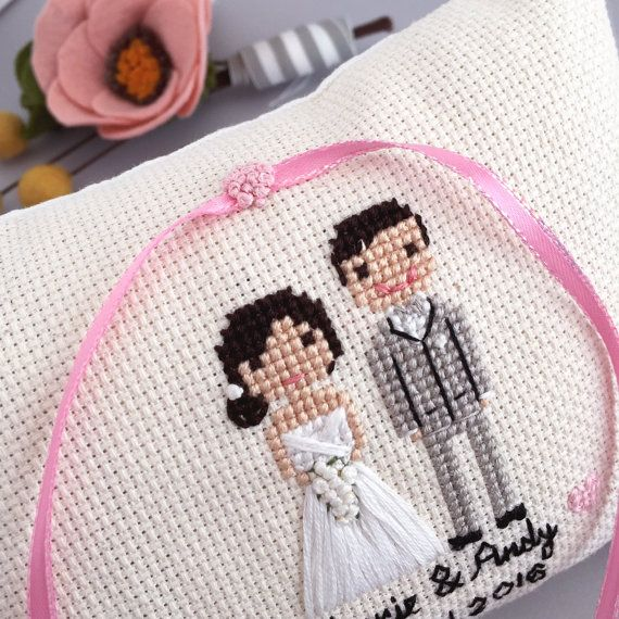 Ring Pillow Cross Stitch Wedding Portrait by clothandtwigshop