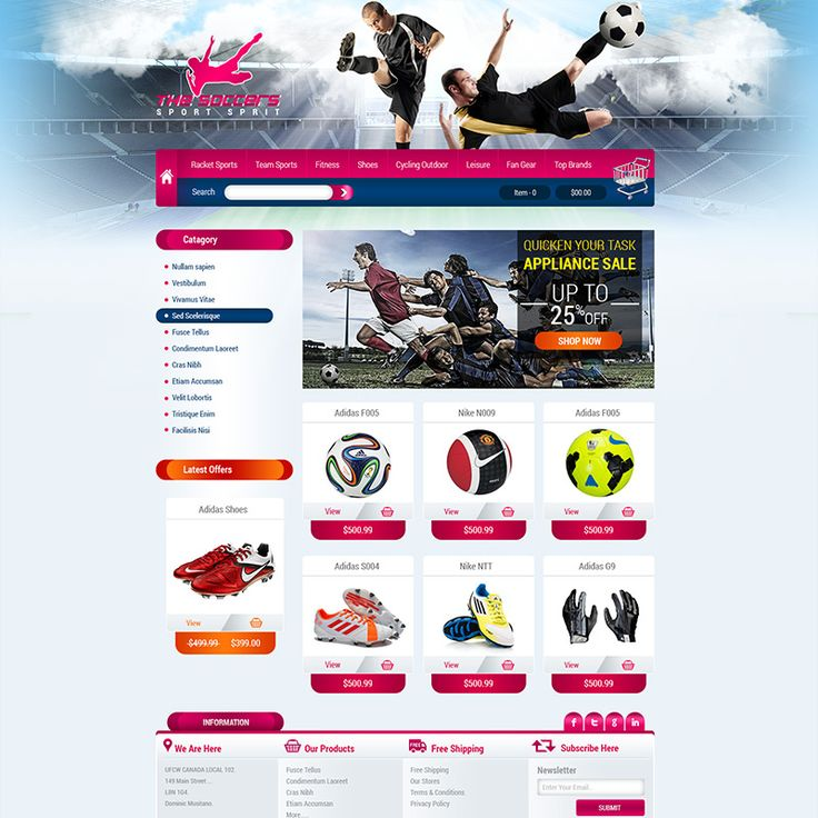 Sport website designing services.