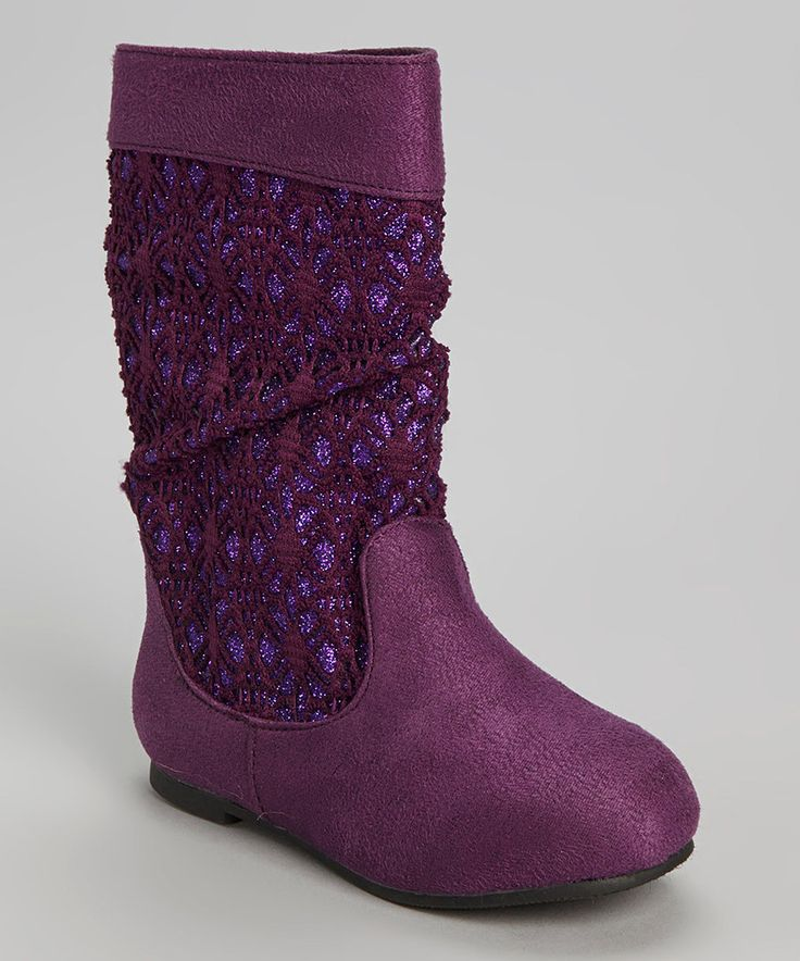 Look at this Eggplant Crochet Glitter Boot on #zulily today!