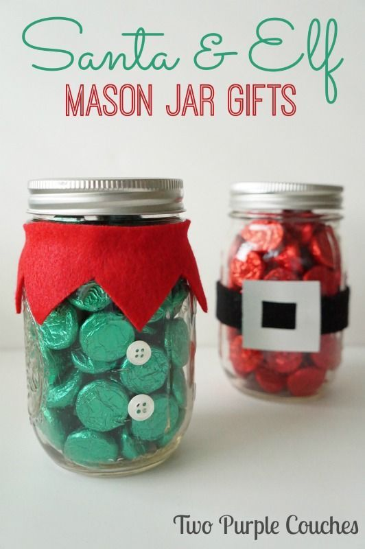 Make these adorable Santa and Elf Mason Jar Gifts for teacher gifts, hostess gifts, White Elephant exchanges and more! via www.twopurplecouches.com
