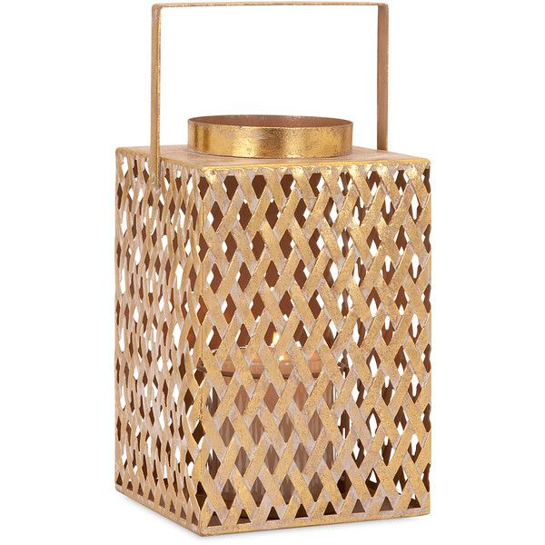 Azara Lattice Small Lantern (145 BRL) ❤ liked on Polyvore featuring home, home decor, candles & candleholders, square candle holders, square lantern, contemporary home decor and contemporary candle holders