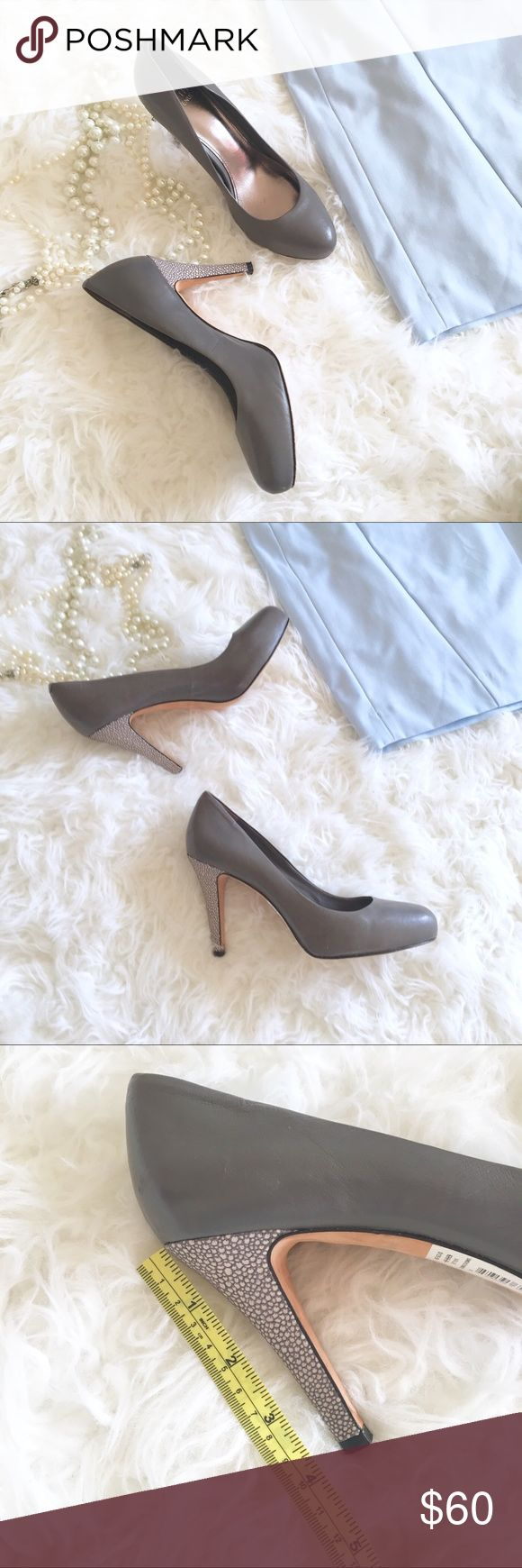 Saks off 5th Ave, Grey Pumps These Saks Fifth Ave heels (style is Selena, color: Smoke)are so chic and classy. The textured heels is a nice unexpected detail. It is perfect for the office or paired with a LBD for a holiday party. Saks Fifth Avenue Shoes Heels